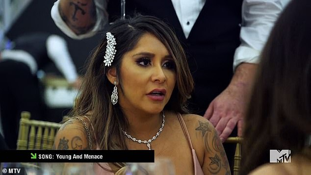 Poor choice: Snooki made a spectacle of herself in the finale when she joined her friends Jenni 'JWoww' Farley, 34, and Deena Cortese, 33, as they tried their hand at a roast-style wedding reception toast to Angelina