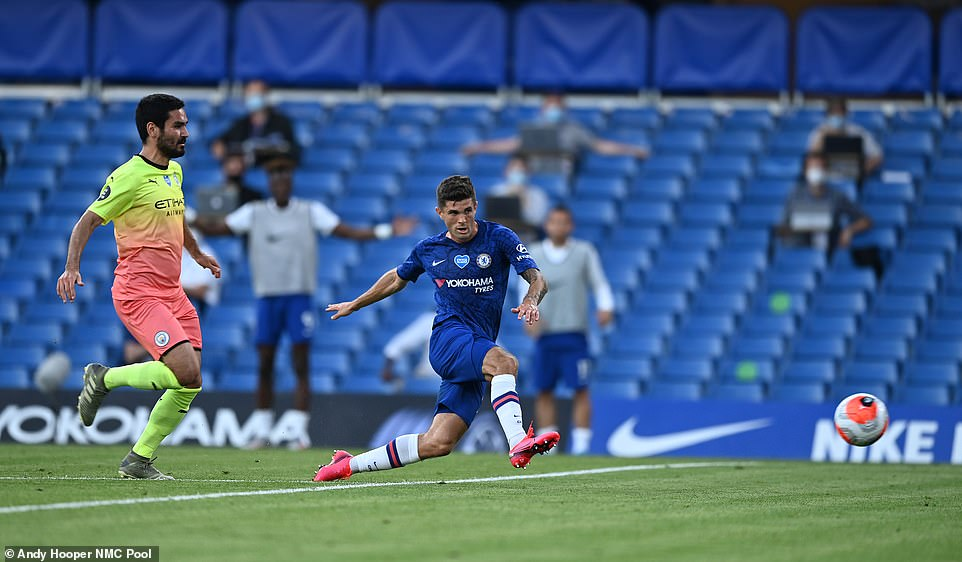 Christian Pulisic puts Chelsea into the lead on Thursday night after capitalising on an error from Benjamin Mendy