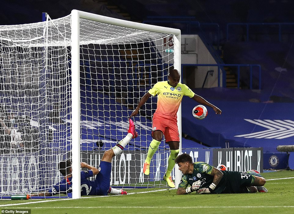 Fernandinho handled the ball on the line while blocking a Chelsea shot, giving away a penalty following a VAR review