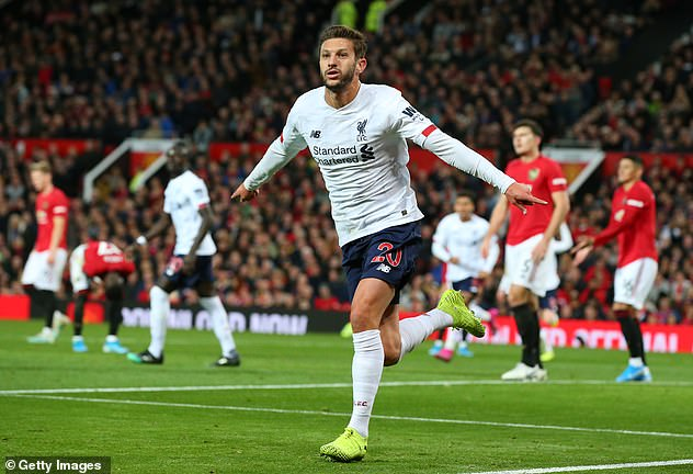 Lallana had just been introduced as a substitute with Liverpool second best to Man United