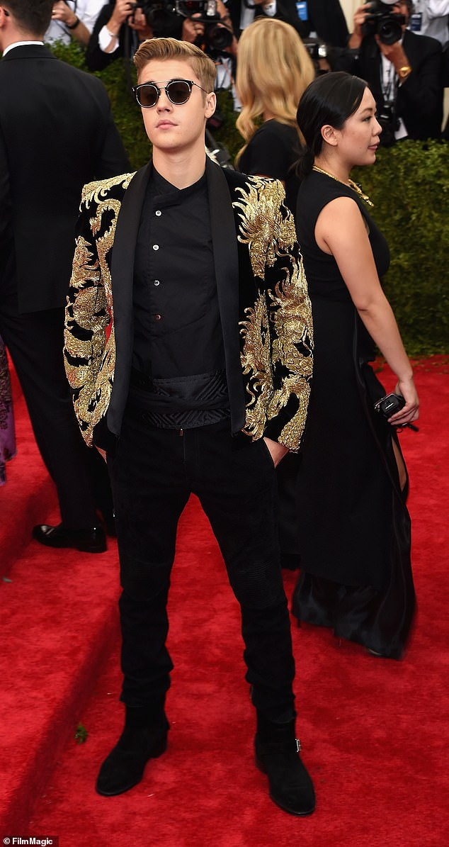 Bieber, who was in New York on that date to attend the Met Gala, pictured, describes Kadi's story as 'an elaborate hoax.' He states that after the gala, he went on to a private party where he stayed until 4 a.m. and then got a snack at a hot dog stand