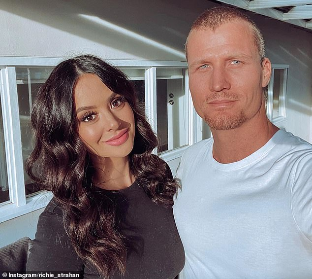 'This babe': Former Bachelor Richie Strahan, 35, debuted a new shaved hairdo as he uploaded a rare Instagram photo with his girlfriend, Jenayah Thompson, on Thursday