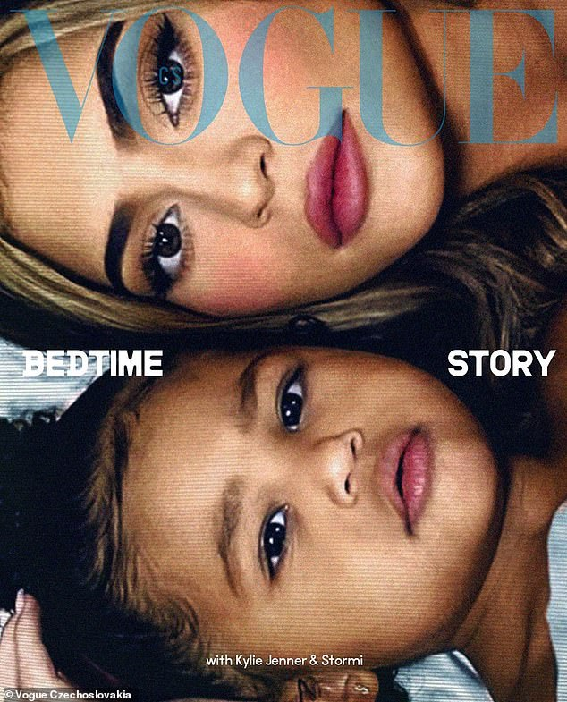 'God made no mistakes with you, Storm baby': Earlier this month, Kylie enlisted her privileged princess to appear beside her on the cover of Vogue Czechoslovakia