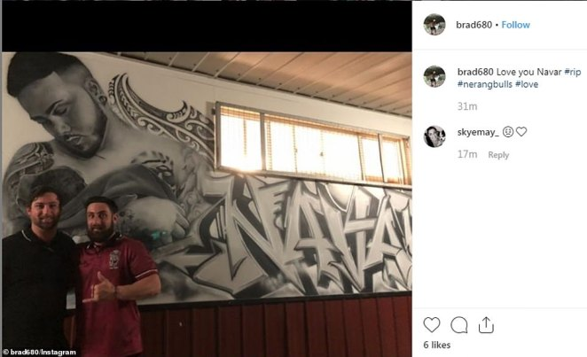 Nerang Bulls Rugby team paid tribute to Navar who died of a brain tumour in a touching service, which his friends shared on social media (pictured)