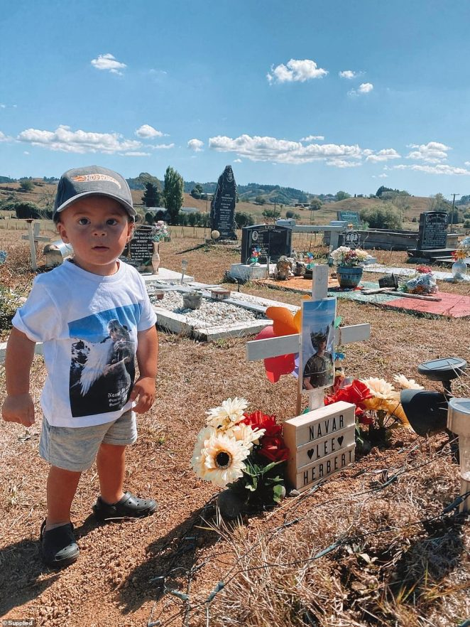 Little Kyrie was just one when his dadNavar Herbert died of brain tumour in June 2019 (pictured, Kyrie at the gravesite)
