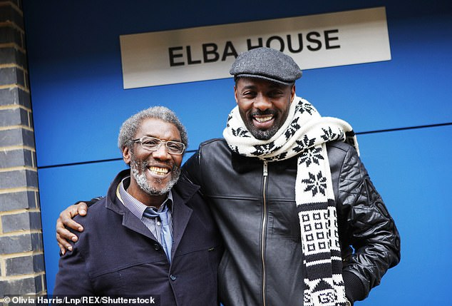 Work ethic: Luther actor also revealed that his parents told him that to be successful `` you have to be twice as good as the white man '' (photo with late father Winston in 2011)