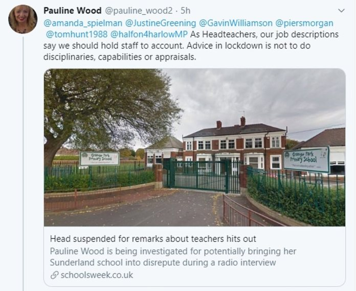 She responded to criticism, tweeting, `` As principals, our job descriptions say we need to hold staff to account. ''