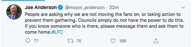 Joe Anderson posted a series of Tweets this evening sharing his concern for the amount of people gathering in the city centre