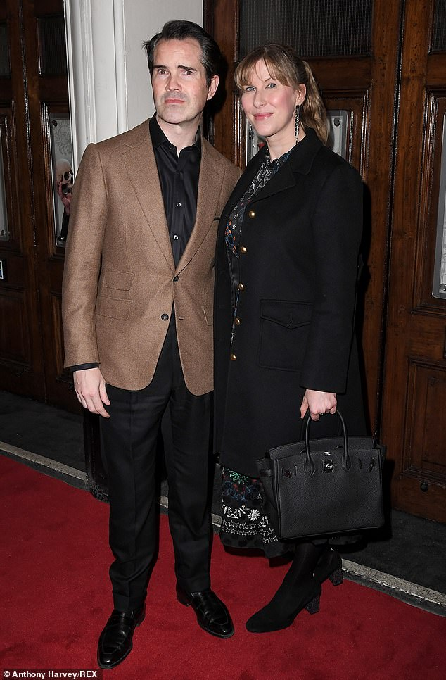 Candid: It comes after the actor, who hosts the 8 out of 10 channels on Channel 4, told the Jonathan Ross Show last year that he is planning to have a hair transplant (pictured with partner Karoline Copping in February)