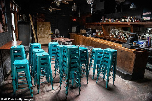 Friday chairs are stacked in a closed bar in Austin, Texas