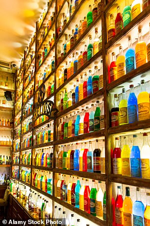 Brettos bar in Athens, famed for its colourful bottles