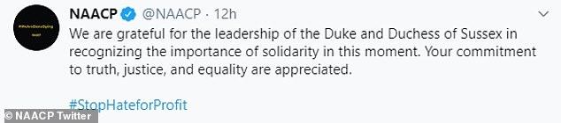 Die 1909 gegründete Bürgerrechtsorganisation mit Sitz in Baltimore hat sich an diesem Wochenende bei Twitter bedankt, um dem Herzog und der Herzogin von Sussex