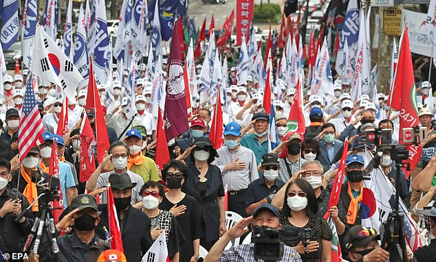 SEOUL, SOUTH KOREA: Veterans and conservative activists gather in south Seoul, South Korea, June 25, 2020, marking the 70th anniversary of the outbreak of the Korean War