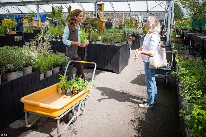When she buys plants and herbs at the Fakenham Garden Center in Norfolk, Kate chats with a member of the public