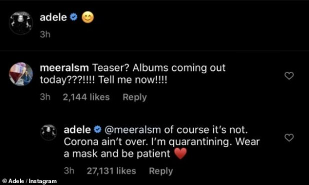 Corona ain't over! Responding to a fan on social media, Adele urged for patience and wear face masks, telling them: 'Corona ain't over!'