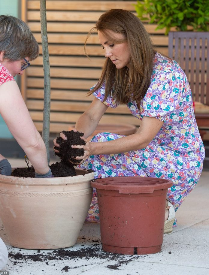 Kate gets her hands dirty and helps plant plants and herbs when visiting the children's hospice
