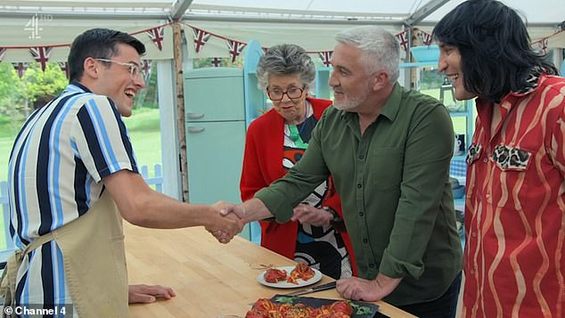 Channel 4 chiefs have banned Paul Hollywood from offering bakers his famous handshake (above) this year to congratulate them due to coronavirus fears