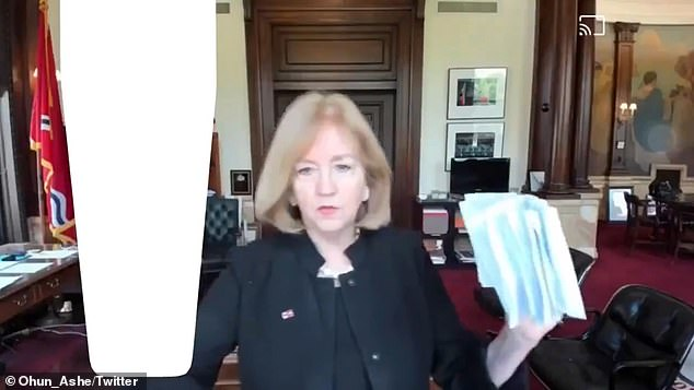 Krewson shocked listeners when she reeled off the personal details of demonstrators - some reportedly up to 10 times - during Friday's online event (above)