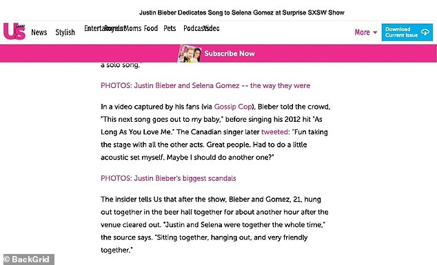 Documents Cite Report Showing Bieber Shouting At Gomez On Stage