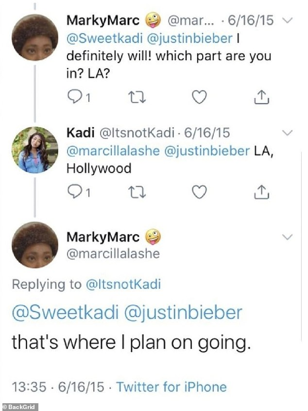 Responses to a tweet show that the user notes that it will be in the same place as Bieber