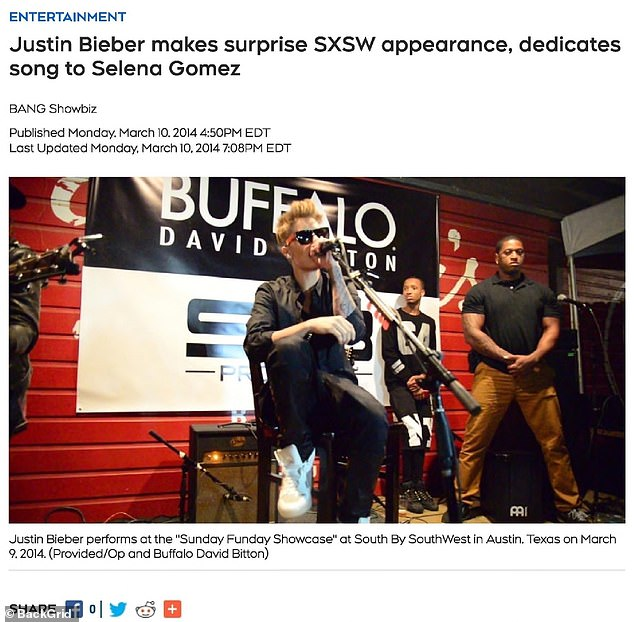 A second CTV News of Canada article also references Bieber's appearance in Austin and dedicates a song to him for his beloved at the time, Selena Gomez