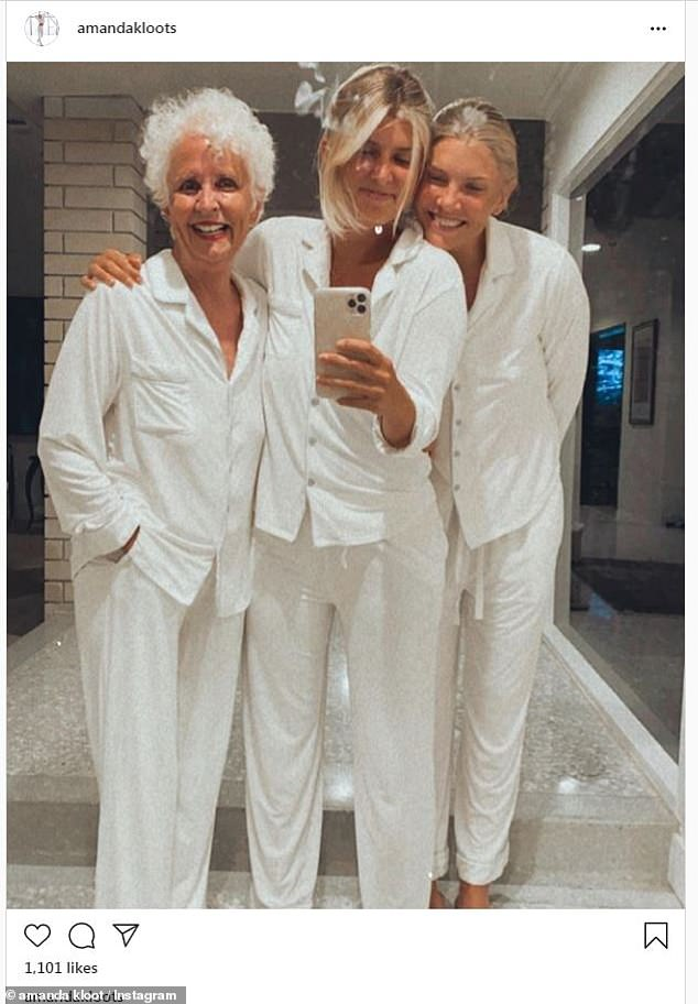 Ladies in white: Amanda posted this lovely portrait of her with her sister and mother for the occasion