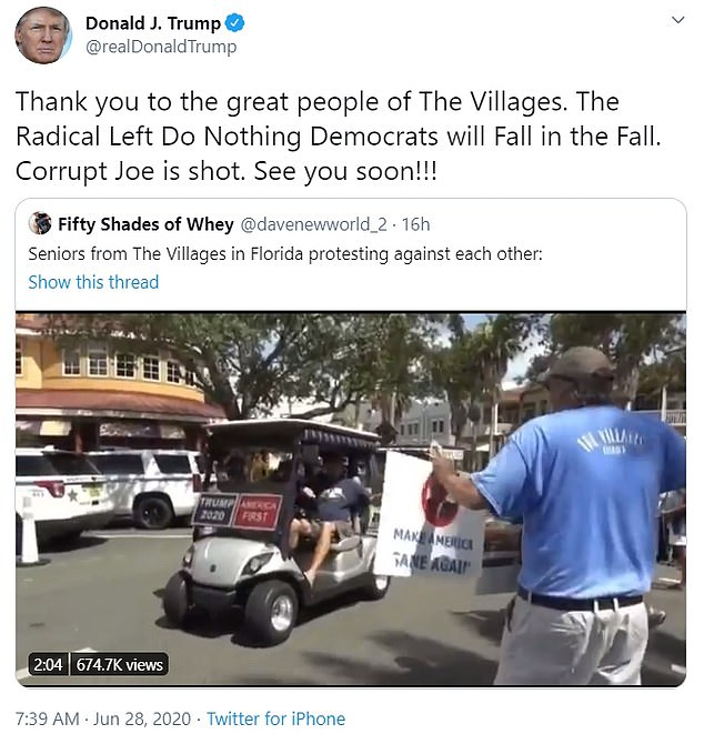 Donald Trump posted a video Sunday morning – and subsequently deleted the tweet – of senior citizen supporters clashing with senior citizen counter protesters in The Village age-restricted community in Florida
