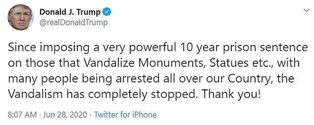 Trump boasted that his executive order imposing 10-year sentences for vandals to monuments has stopped the crimes 'completely'