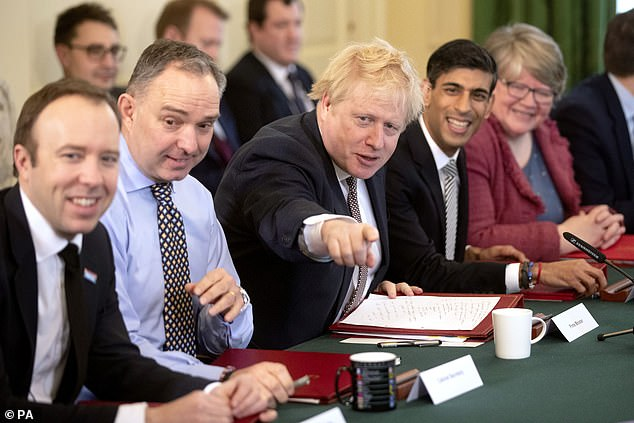 Sir Mark (pictured with Johnson, Rishi Sunak, Matt Hancock and Therese Coffey) and Mr. Frost will be assigned peerages for life, elevating them to the House of Lords