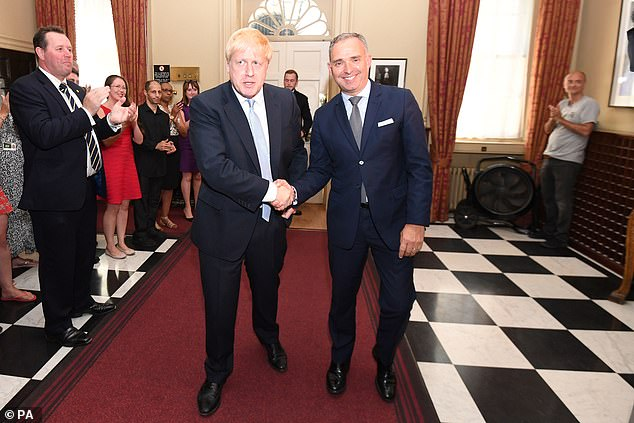 Pictured: Sir Mark with Prime Minister Boris Johnson inside 10 Downing Street in July of last year