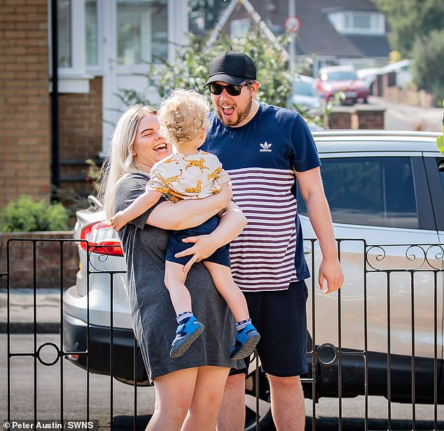 On Friday evening, the self-isolating nurse and her husband were finally reunited with George (above) as the government easing lockdown restrictions ended their separation