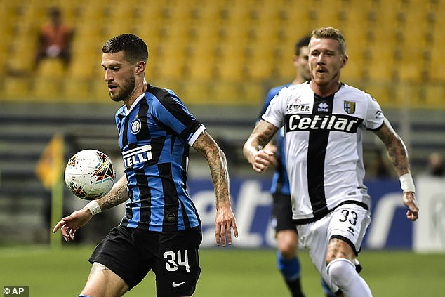 Juraj Kucka (right) was sent off for his protests following Inter Milan's 84th minute equaliser