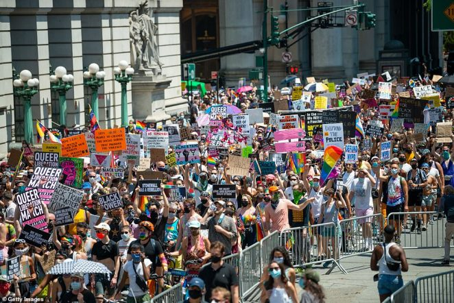 The march began around 1pm in Lower Manhattan then wound its way up towards Washington Square