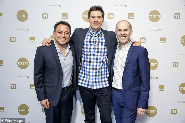 Beginning of a beautiful working relationship: ComedianEd Kavalee (centre) also featured on the show, which ran from 2006 until 2009, and said it was where he first met Tom (right). Pictured with Sam Pang (left) at the Network Ten Upfronts in Melbourne in November 2016