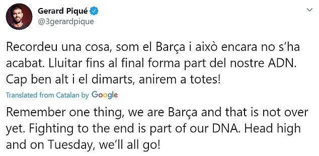 Le défenseur de Barcelone Gerard Pique a tweeté pour dire aux fans qu'ils n'avaient pas encore renoncé au titre