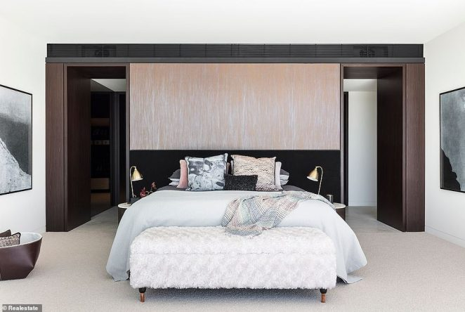 Pure luxury: Designed by renowned architect Koichi Takada, the home boasts four storeys, five spacious bedrooms, six bathrooms and an outdoor pool