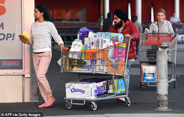 Shoppers leave Costco after stocking up on essentials.Costco, which has stores in Sydney, Melbourne, Brisbane, Canberra, Perth and Adelaide, is limiting customers to one pack of toilet paper each