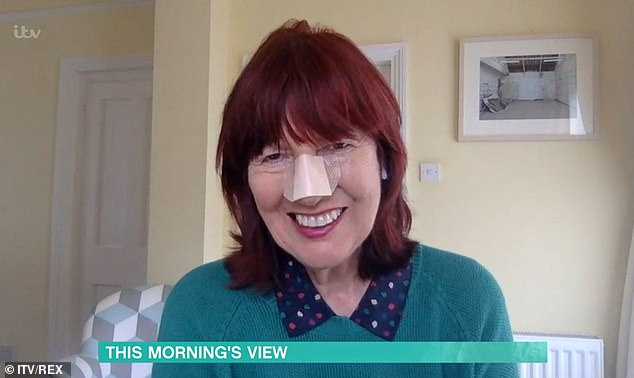 'I'm fine!':Janet Street-Porter, 73, has appeared on This Morning with a large plaster across her nose after having a skin cancer growth removed last week