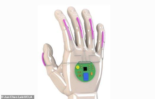 Un rendu numérique du système qui permet de convertir la langue des signes en parole. UCLA a déposé un brevet sur la technologie