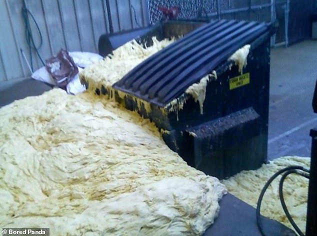A baker, thought to be based in America, creates an enormous mess after his ingredients explode in a bin