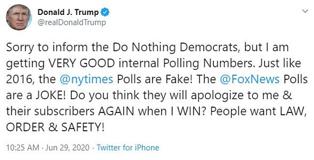 Trump also claimed his internal poll numbers are 'very good'