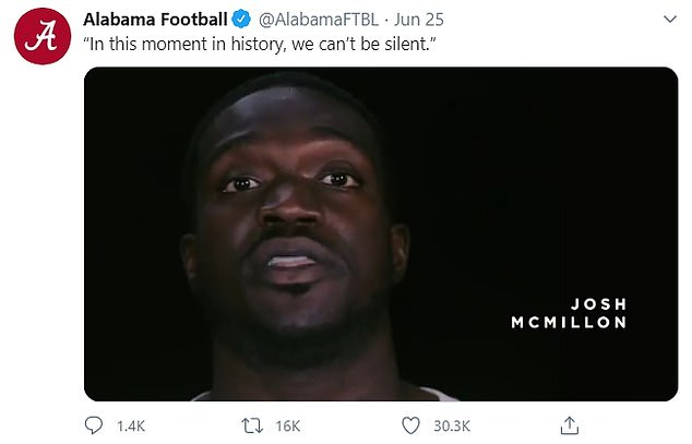 The post appears to be a response to a two minute video shared on the official social media pages of Alabama Football last week, in which a diverse group of players and Saban read an essay by Crimson Tide offensive lineman Alex Leatherwood that said 'All lives can't matter until black lives matter'
