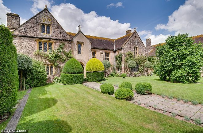 A spokesman for Knight Frank said: 'Cothay Manor is an outstanding example of a late medieval hall house surrounded by magnificent gardens' (pictured)