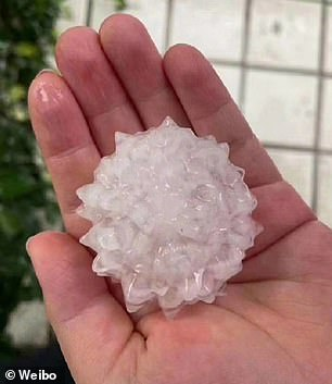 Residents spotted the spike-shaped hailstones resembling coronavirus particles