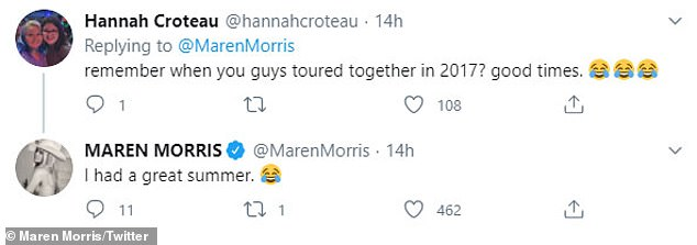 Good spirit:One of her followers brought up the tour together as Maren replied: 'I had a great summer [crying while laughing emoji]'