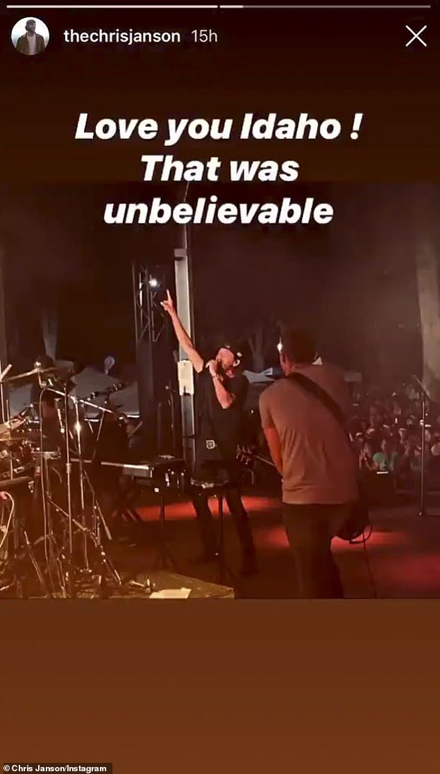 'That was unbelievable':Janson was at the center of controversy after playing a packed concert in Idaho amid the coronavirus pandemic as it was reported that there were around 2,800 in attendance