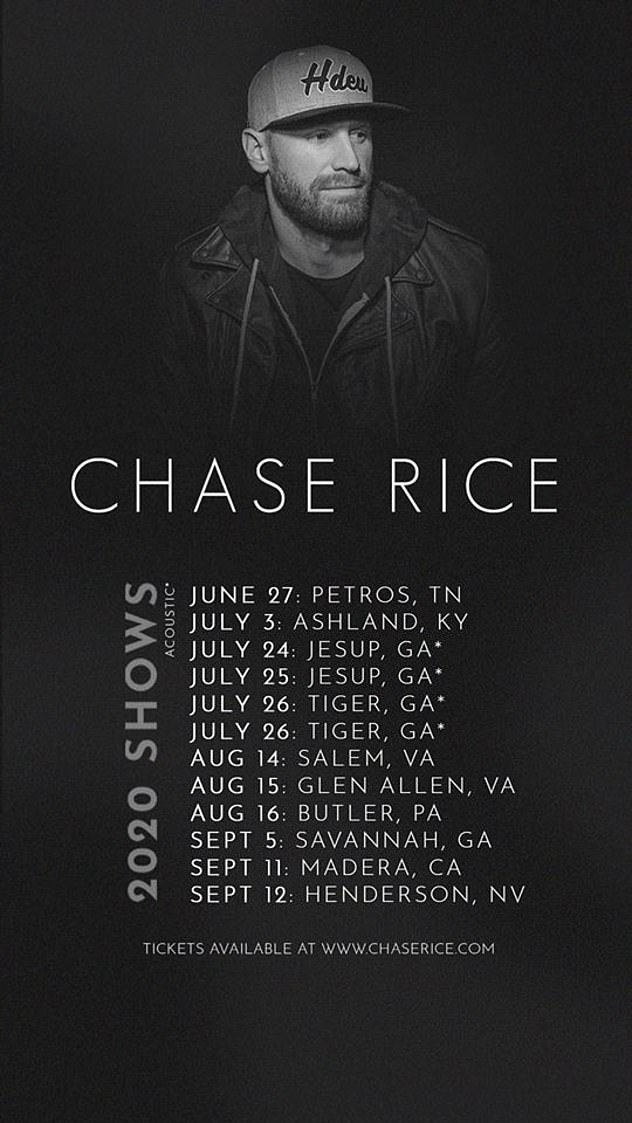 Tour stops:Rice's 2020 tour will continued July 3 in Ashland, Kentucky, then taking a few weeks off before returning with shows in Jesup, GA on July 24 and 25 and two shows in Tiger, GA on July 26