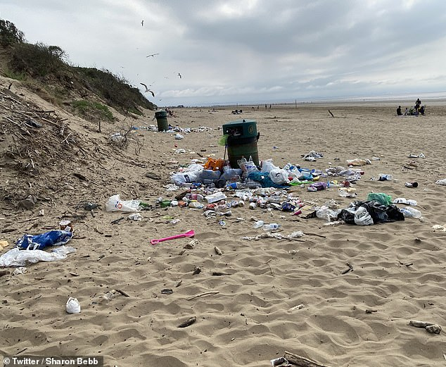 On Brean Beach, locals were dismayed to find overflowing bins with bottles and plastic bags across the sand