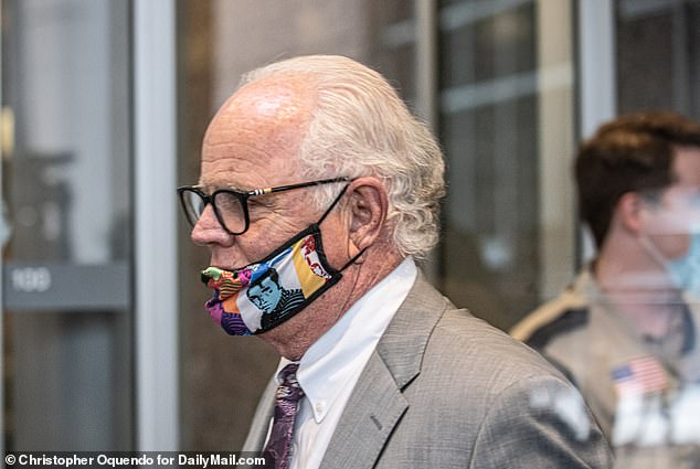 Lane's attorney Early Gray was seen with a mask as he entered the courtroom for Monday's hearing