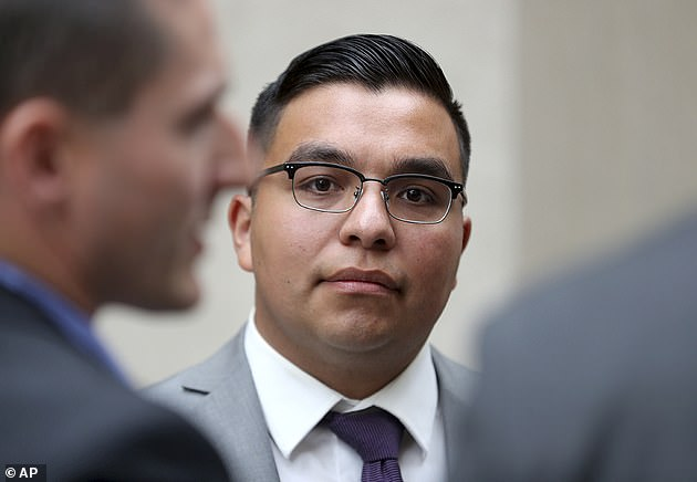 Officer Jeronimo Yanez (pictured) claimed he thought Castile, 26, was reaching for his gun but his girlfriend claimed he was going for his ID. Yanez was cleared of second degree murder and received a $48,000 settlement to voluntarily leave his job